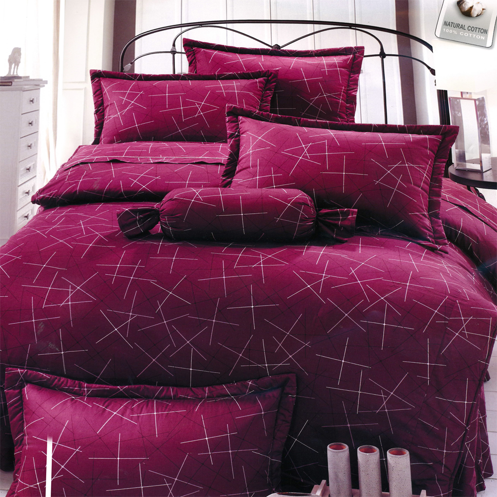 璀璨-紅 台灣製加大五件式純棉床罩組