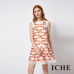 ICHE 衣哲 時尚刺繡印花拼接紡紗造型洋裝