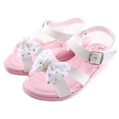 蝴蝶結魔鬼貼俏麗涼鞋 白 sk0124 魔法Baby