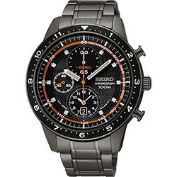 SEIKO 浩瀚宇宙三眼計時腕錶(SNDF41P1)-黑x鐵灰/43mm