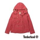 Timberland 女款朱紅色雙排釦連帽風衣外套