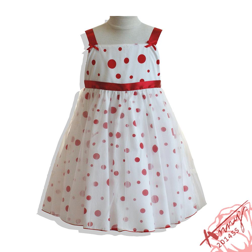 可愛點點緞面網紗吊帶裙*紅