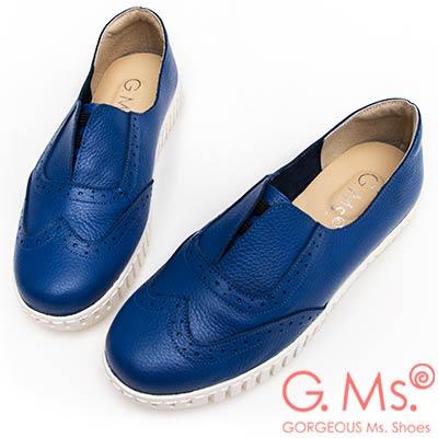G.Ms. MIT系列-馬卡龍色系牛津免綁帶牛皮白底休閒鞋-寶藍