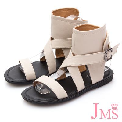 JMS-率性交叉環釦包踝平底羅馬涼鞋-米色