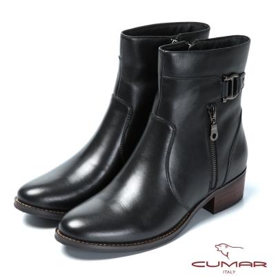 CUMAR率性品味 皮帶釦裝飾真皮短靴-黑色