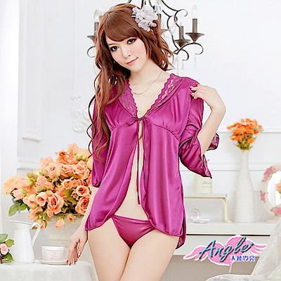罩衫 迷戀銷魂 冰絲連身性感睡衣(深紫F) AngelHoney天使霓裳
