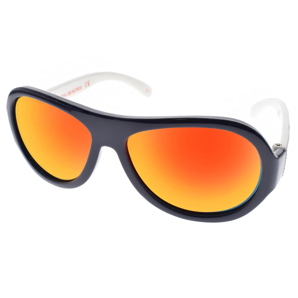 SHADEZ兒童太陽眼鏡 無毒可彎曲/藍白線條-橘水銀#SH15SHZ3 C43