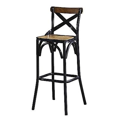 AT HOME-工業風設計骨叉實木椅墊吧台椅(51*40*105cm)