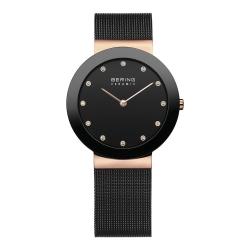 BERING丹麥精品手錶 晶鑽刻度米蘭帶陶瓷錶框 黑x玫瑰金35mm