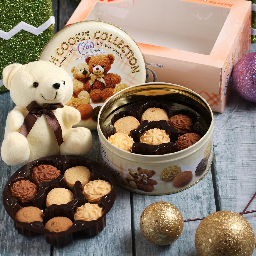 麥斯 小熊經典手工曲奇餅乾鐵盒附贈可愛玩偶(300g)