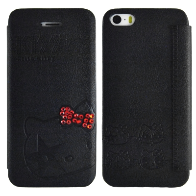 Aztec 凱蒂貓 Apple iPhone5/5S/SE 側掀式皮套-鑽結黑
