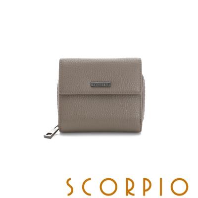 SCORPIO 類真皮超纖系列零錢夾層設計短夾 卡其色