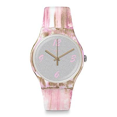 Swatch 情迷地中海  PINKQUARELLE 粉色水彩手錶