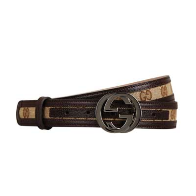 GUCCI 經典緹花布GG金屬LOGO皮革鑲邊皮帶(咖啡/100cm)