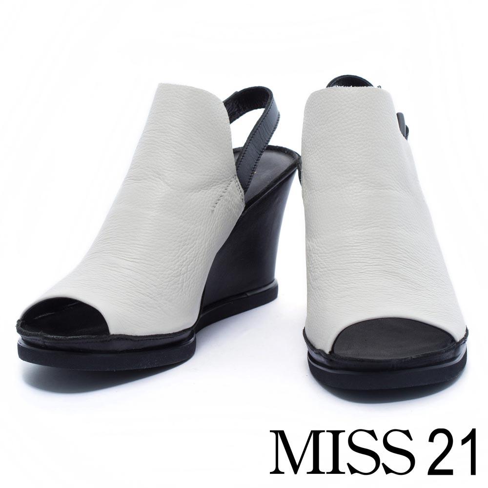 涼鞋 MISS 21 個性極簡俐落牛皮魚口楔型涼鞋-米