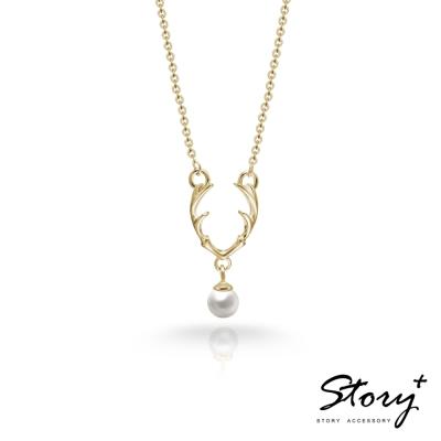 STORY故事銀飾-SNOW系列-Dear麋鹿天然珍珠項鍊 黃K金