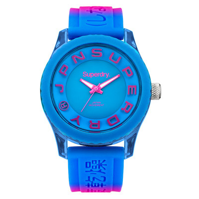 Superdry 極度乾燥 急速衝刺 矽膠 運動腕錶-藍x桃紅帶/藍面/38mm