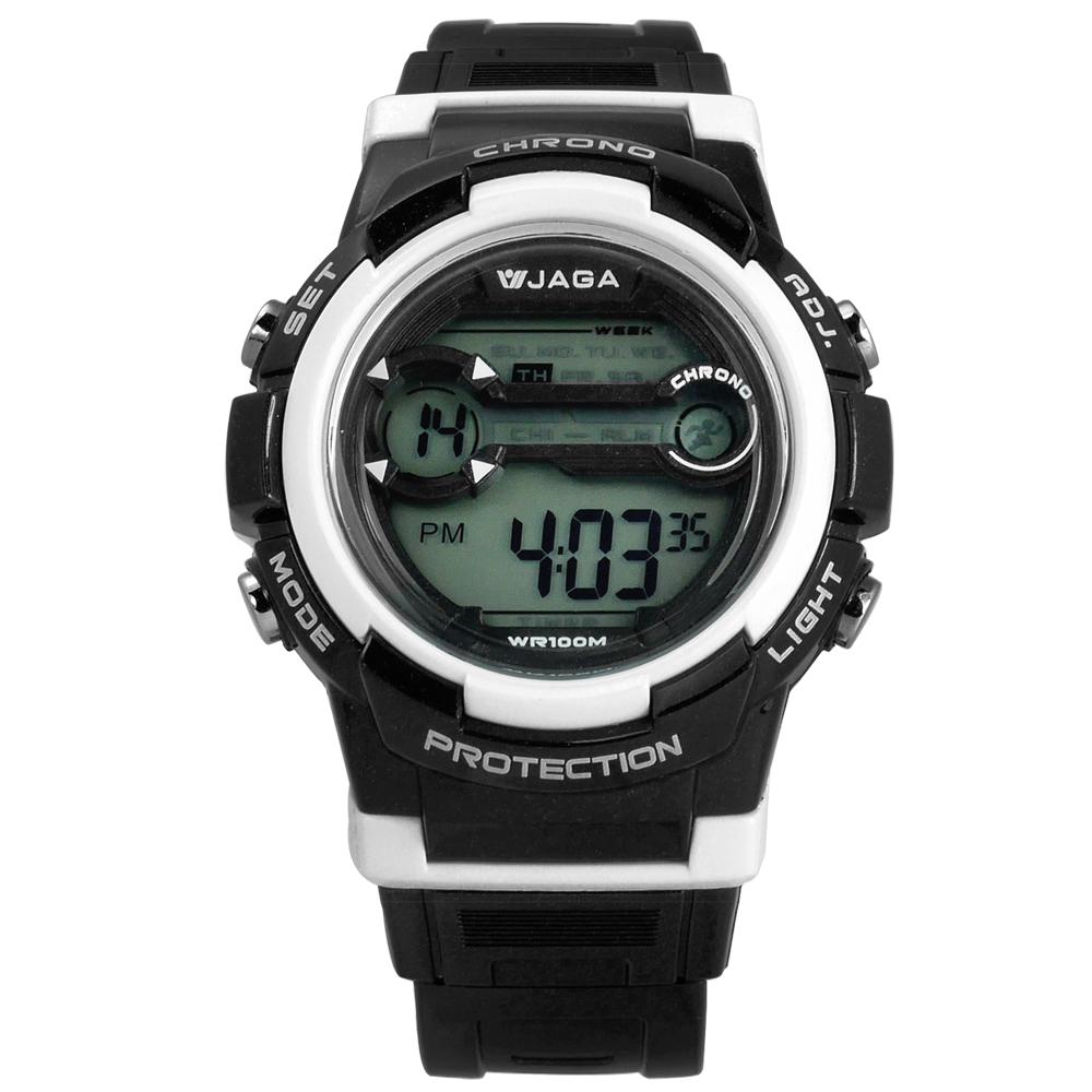 JAGA 捷卡 搶眼青春活力電子運動橡膠手錶-黑色/39mm