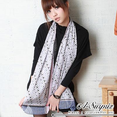A-Surpriz 金縷浪漫花紋絲質圍巾(甜心粉)