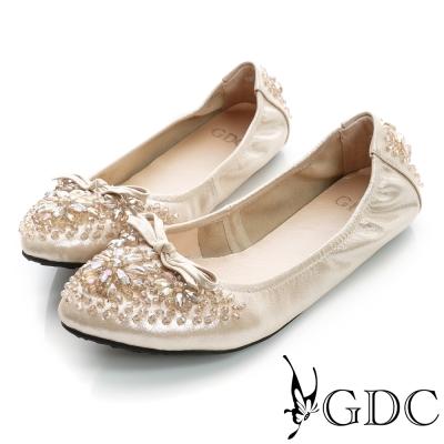 GDC百搭-超軟蝴蝶結水鑽彈力真皮平底娃娃鞋-金色