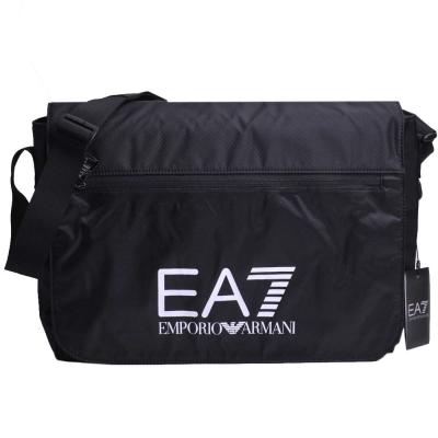 EMPORIO ARMANI EA7品牌圖騰 LOGO尼龍翻蓋郵差包(黑色)
