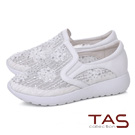 TAS 透膚蕾絲水鑽牛皮休閒鞋-焦點白