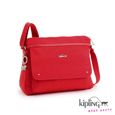 Kipling-斜背包-艷椒紅素面
