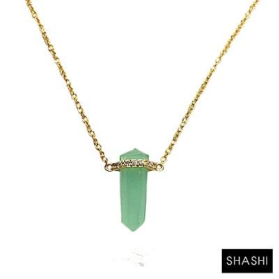 SHASHI 紐約品牌 湖水藍水晶金項鍊 立體冰柱造型 Amazonite 創意 正面能量