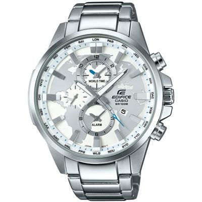 EDIFICE 世界地圖錶盤設計俐落帥氣腕錶(EFR-303D-7A)白面/48.8mm