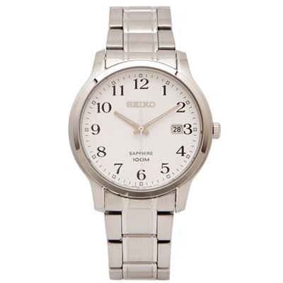 SEIKO 數字刻度款的藍寶石鏡面手錶(SGEH67P1 )-白面x銀色/40mm