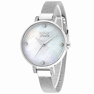 NATURALLY JOJO 優雅洗鍊不鏽鋼米蘭腕錶-白x銀/33mm
