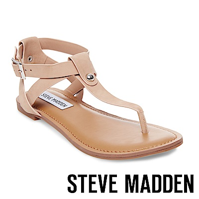 STEVE MADDEN-HIDDEN 鉚釘踝帶夾腳涼鞋-裸色