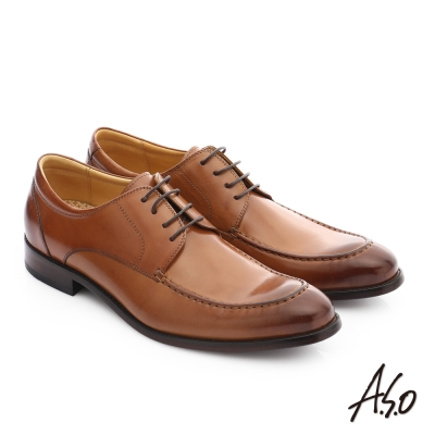 A.S.O 尊榮青紳 牛皮綁帶奈米尖頭紳士鞋 茶色