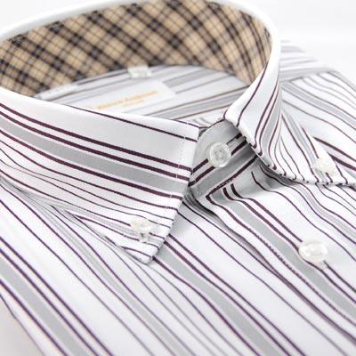 【金安德森】白底咖啡色條紋釘釦領內領圍飾精典格紋短袖襯衫