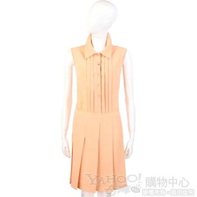 MOSCHINO 粉橘色抓褶無袖洋裝