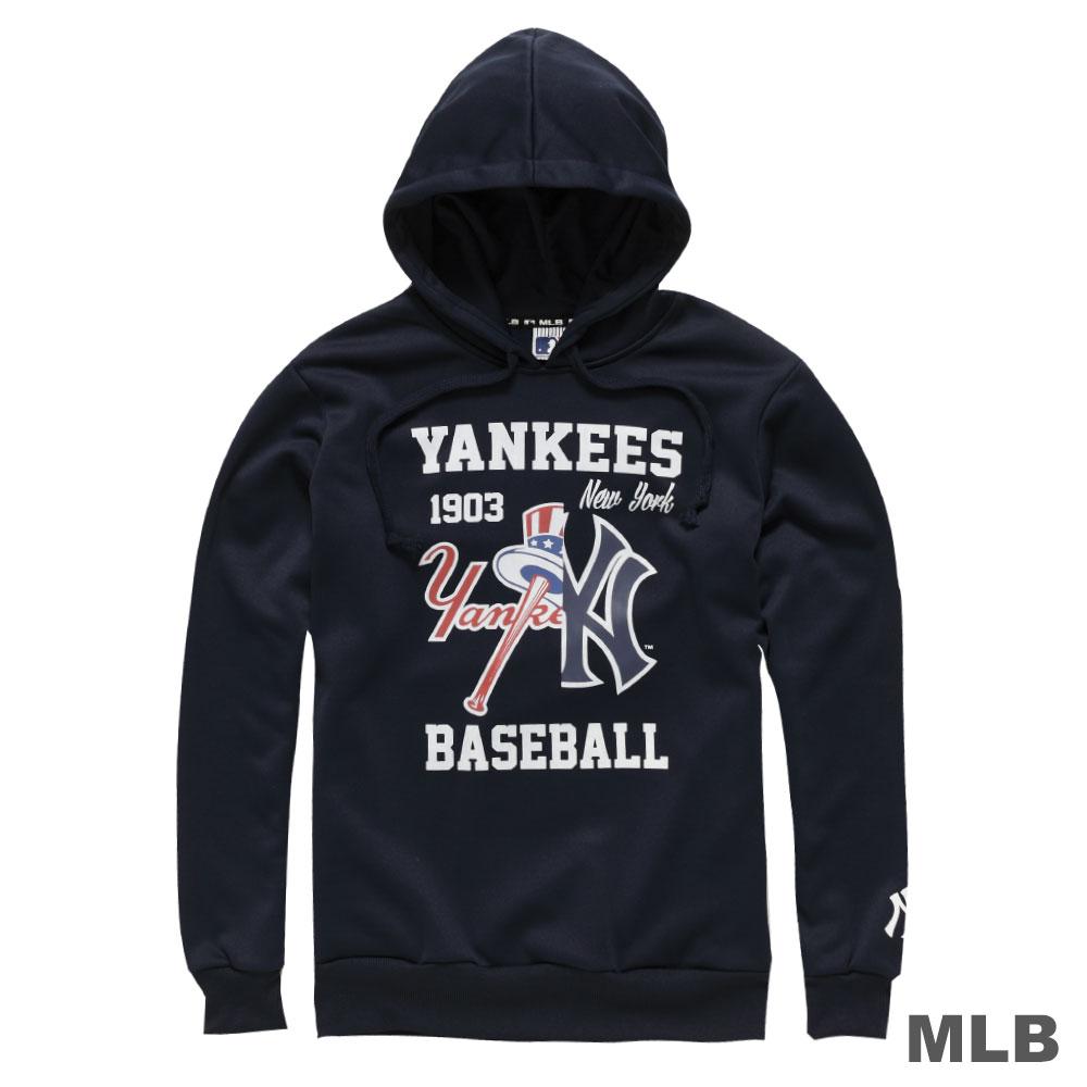 MLB-紐約洋基隊連帽鏡像印花長袖厚T恤-深藍(男)