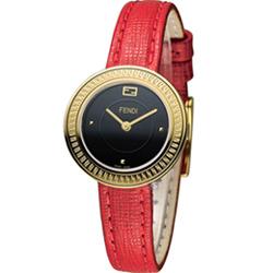 FENDI MY WAY 輕盈美學時尚腕錶-黑x紅/28mm