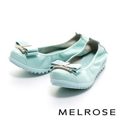 MELROSE-蝴蝶結珍珠飾釦牛皮厚底休閒鞋-綠