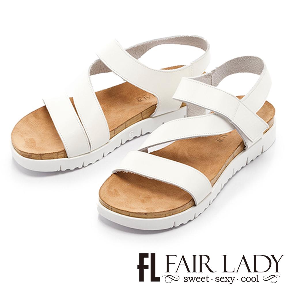 Fair Lady輕軟真皮鬆糕厚底涼鞋白