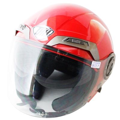 勇氣可掀式雙鏡片半罩安全帽T314A-紅白+新一代免洗安全帽內襯套6入-急速配