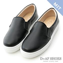 D+AF 舒適主打.MIT素面加厚底休閒懶人鞋*黑