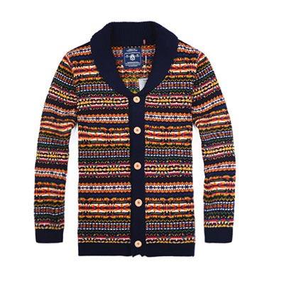 美國熊 彩條漸層提花 開襟式加厚針織外套