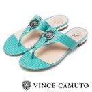 VINCE CAMUTO 繽紛夏日 真皮美型金屬LOGO人字拖-綠色