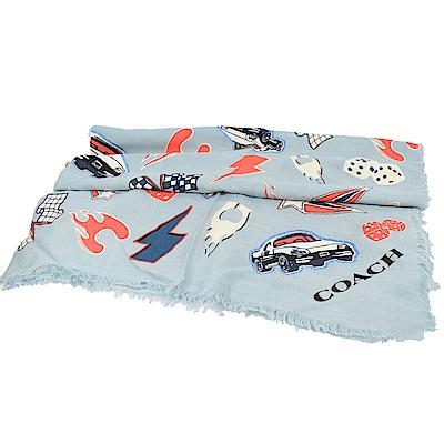 COACH趣味圖樣方形羊毛絲巾(淺藍)