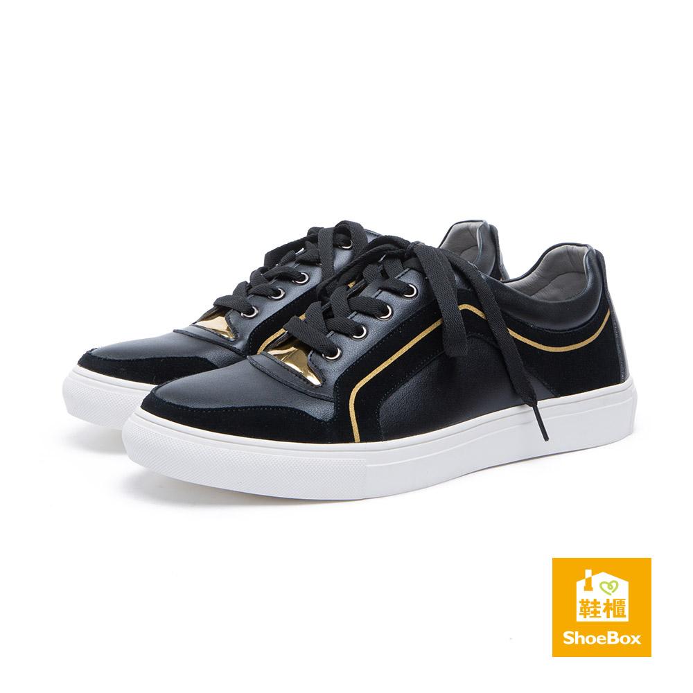 達芙妮DAPHNE ShoeBox系列-男鞋-休閒鞋-金色線條拼接綁帶休閒鞋-黑