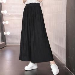 La Belleza百摺素色鬆緊腰棉質闊腿褲寬褲九分褲