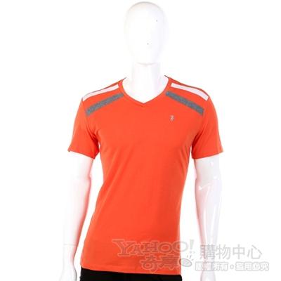 TRUSSARDI-JEANS 橘色條紋綴飾V領短袖上衣