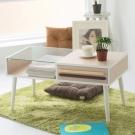 Home Feeling 雙色調日系強化玻璃茶几桌/餐桌(3色可選)