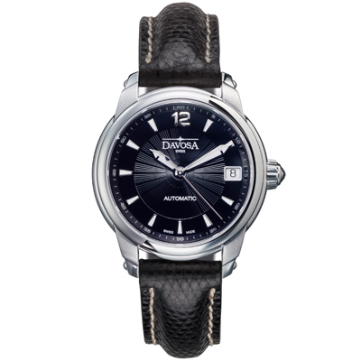 DAVOSA Ladies Delight系列 黑色蜥蜴皮帶女錶-黑/34mm