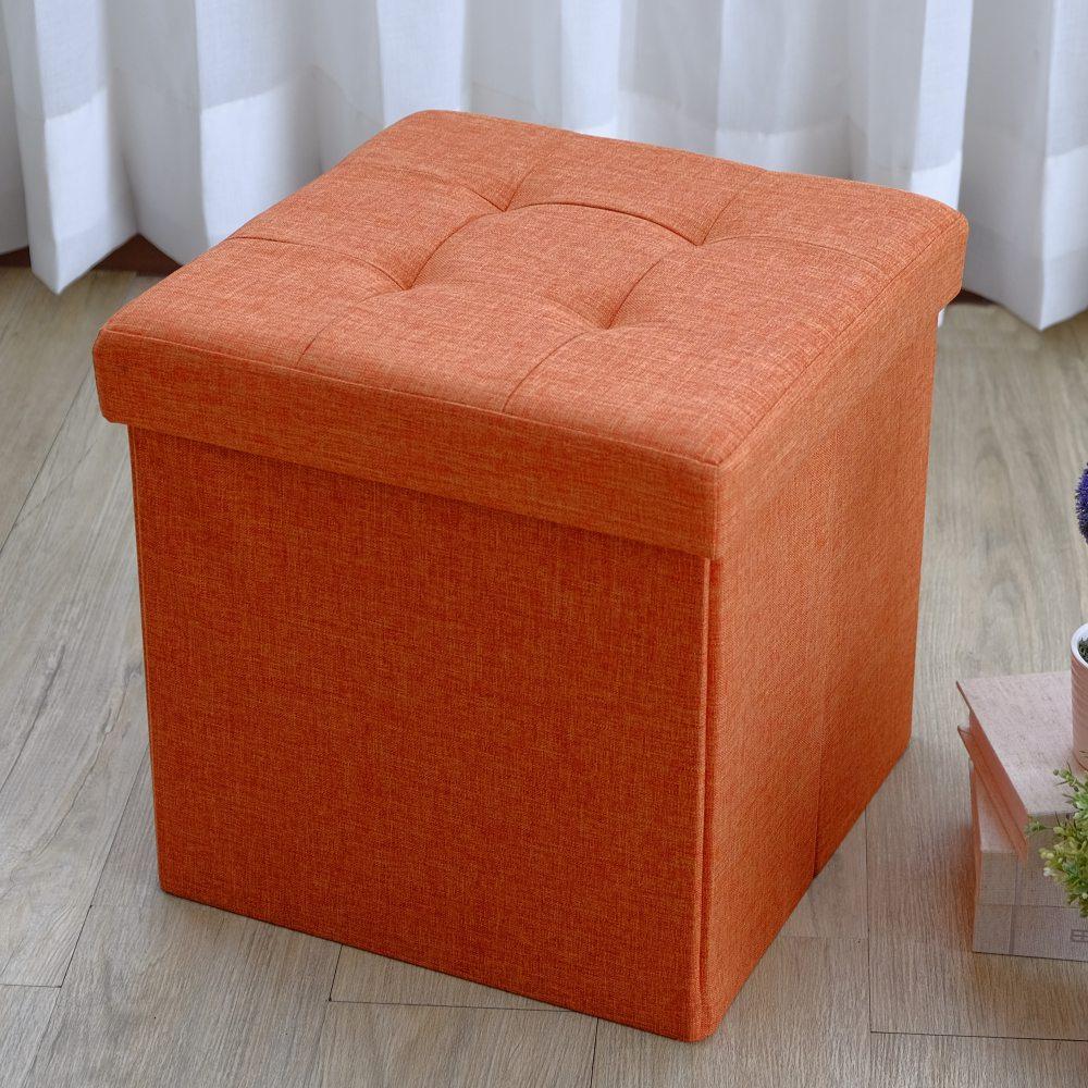 【EASY HOME】北歐風加大可摺疊收納椅凳 (洋甘橘)